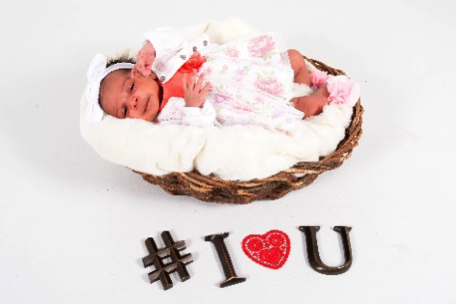 newborn portrait of baby in basket by Andrea Michaels portrait studios